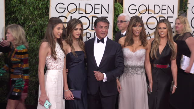 vidéos et rushes de sylvester stallone at the 73rd annual golden globe awards - arrivals at the beverly hilton hotel on january 10, 2016 in beverly hills, california. 4k... - golden globe awards