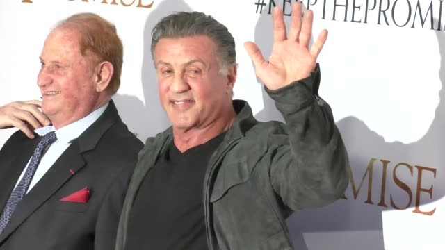 """sylvester stallone & mike medavoy at """"the promise"""" los angeles premiere at tcl chinese theatre on april 12, 2017 in hollywood, california. - tcl chinese theatre stock videos & royalty-free footage"""