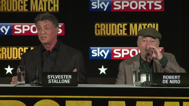 vídeos de stock, filmes e b-roll de sylvester stallone on adhd and expulsion at the grudge match press conference at the dorchester hotel on january 9, 2014 in london, england. - sylvester stallone
