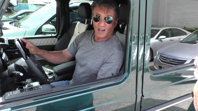 vídeos de stock, filmes e b-roll de interview sylvester stallone on if rocky could take ronda rousey while shopping in beverly hills in celebrity sightings in los angeles - sylvester stallone