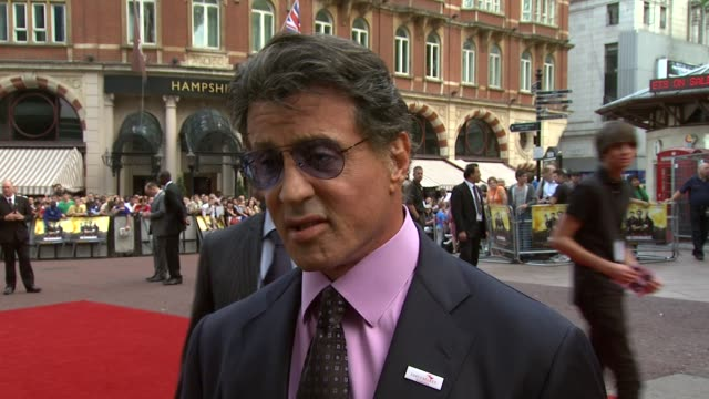 sylvester stallone on the formula for an action movie at the the expendables uk premiere at london england. - formula stock videos & royalty-free footage