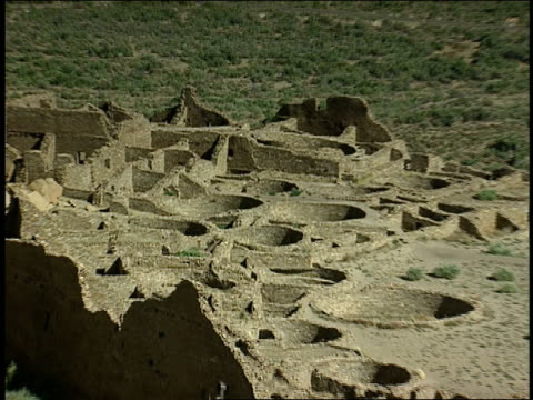 symmetrical patterns mark the ruins of pueblo bonito in chaco culture national historical park. - chaco culture national historical park stock videos & royalty-free footage