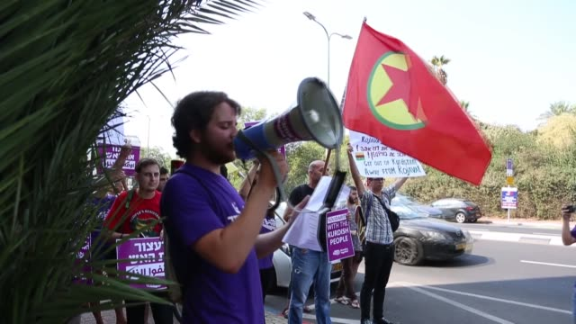 sympathizers of the terrorist organization ypg/pkk stage a demonstration in front of turkish embassy in tel aviv israel to protest against turkey's... - kurdistan workers party stock videos & royalty-free footage