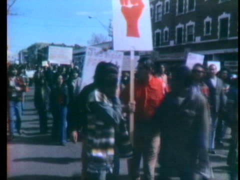 sympathizers to the indian takeover of wounded knee march in the streets of denver. - denver stock videos & royalty-free footage
