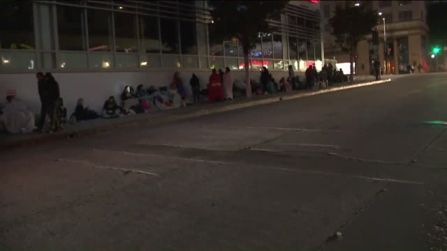 ktla'n sync fans waiting in line for hollywood walk of fame ceremony - n sync stock-videos und b-roll-filmmaterial