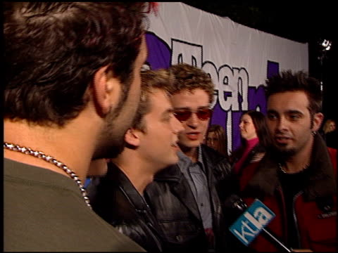 'n sync justin timberlake lance bass joey fatone jc chasez and chris kirkpatrick at the teen people magazine party at vynyl in hollywood california... - justin timberlake stock-videos und b-roll-filmmaterial