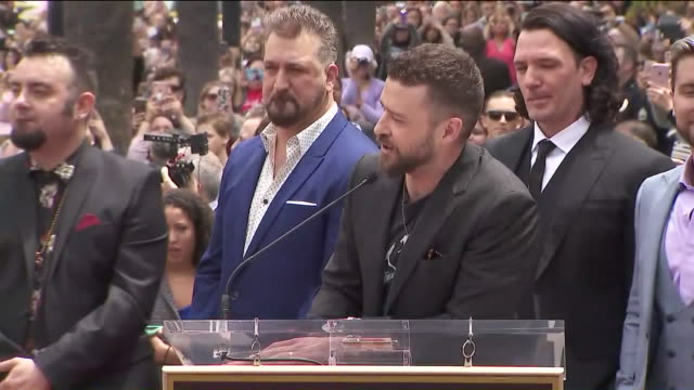 ktla 'n sync receiving star on hollywood walk of fame - justin timberlake stock-videos und b-roll-filmmaterial