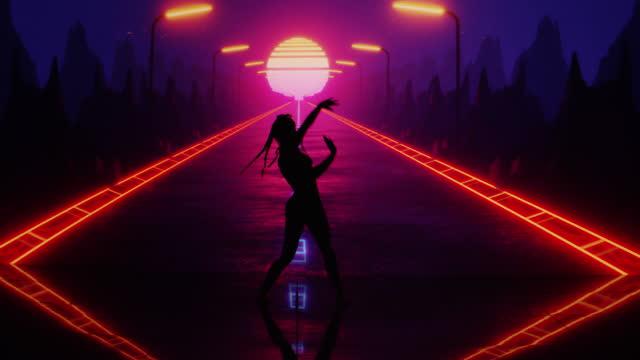 synchronisierte tänzer, die auf projektionshintergrund auftreten. surreale, digitale landschaft mit autobahn - rätsel stock-videos und b-roll-filmmaterial