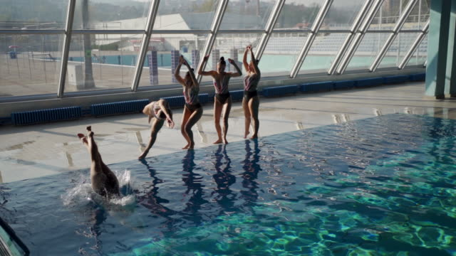 synchronized swimming is an art - swimming costume stock videos & royalty-free footage