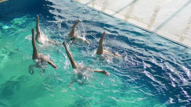 synchronized swimming performance - swimming costume stock videos & royalty-free footage