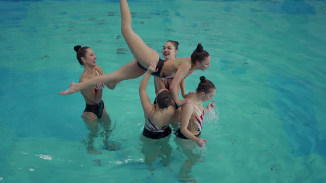 synchronized swimming routine - woman swimming costume stock videos & royalty-free footage