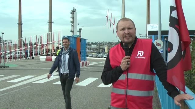 a syndicate official speaks to the press regarding fuel shortage in front of total oil refinery of feyzin near lyon centraleastern france on may 25... - euro 2016 stock videos and b-roll footage