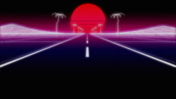 synthwave palms road 80 Retro Background 3d render