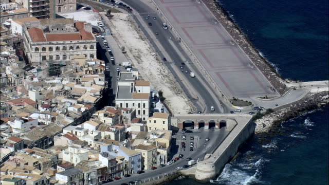 syracuse  - aerial view - sicily, syracuse, italy - syracuse stock videos & royalty-free footage
