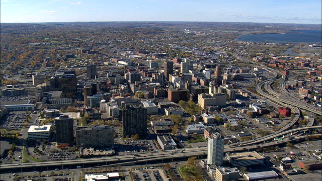 syracuse approach - aerial view - new york,  onondaga county,  united states - syracuse stock videos & royalty-free footage