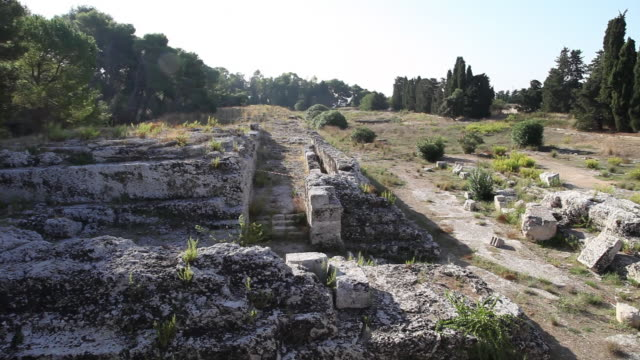 syracuse, archaeological park, the altar of hieron ii, 3rd century b.c. - 3rd century bc stock videos & royalty-free footage