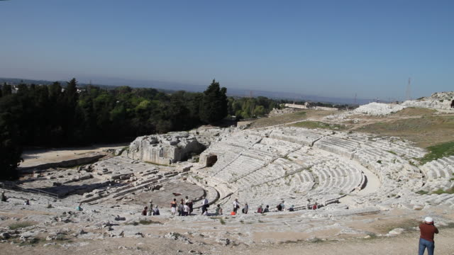 syracuse, archaeological park, the greek theater, 3rd century b.c. - 3rd century bc stock videos & royalty-free footage