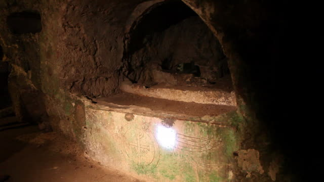 syracuse, catacombs in  san giovanni evangelista church - sicily stock videos and b-roll footage