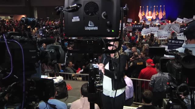a woman was standing in the supporter line then was asked to leave by trump campaign staff as she states in this broll footage full interview with... - syracuse stock videos & royalty-free footage