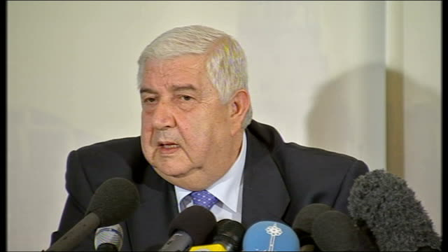 syria calls us attack an act of 'terrorist aggression': press conference with foreign minister; walid al-muallem press conference sot - good relation... - co ordination stock videos & royalty-free footage