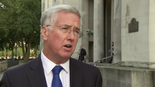 michael fallon interview england london ext michael fallon mp interview on defeating isis in syria sot q is it a failed mission [one year on] isil... - isil conflict stock videos & royalty-free footage