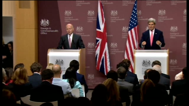 diplomacy: russia proposes chemical weapons 'solution'; england: london: foreign office: william hague mp and john kerry into press conference john... - diplomacy stock videos & royalty-free footage