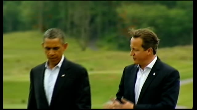 obama administration sets out case for military attack on syria 1862013 / r18061313 ireland enniskillen lough erne ext barack obama and david cameron... - g8 stock-videos und b-roll-filmmaterial