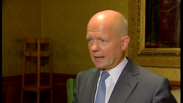 William Hague interview ENGLAND London INT William Hague MP arriving and press conference SOT In the motion we're putting forward tomorrow this...