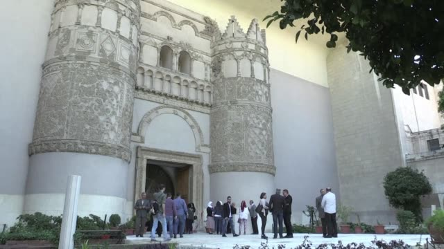 syria reopens a wing of the capital's famed antiquities museum after six years of closure to protect its exhibits from rebel rocket fire in the civil... - arte dell'antichità video stock e b–roll