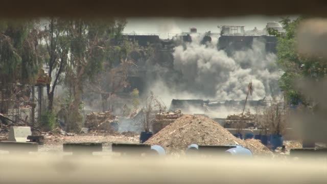 Syrian Arab army tanks fighting in AlQabun district Damascus