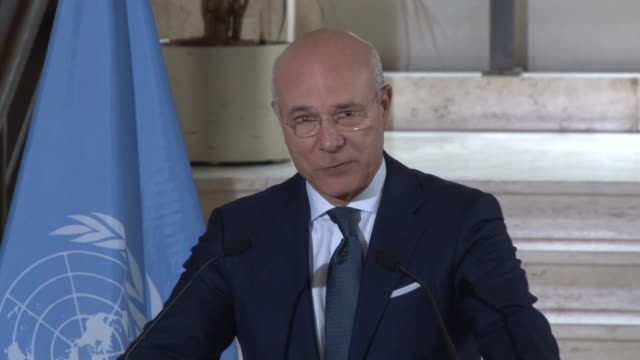 Syrian chief negotiator and Syria's Permanent Representative to the United Nations Bashar AlJaafari and deputy Special Envoy of the UN...