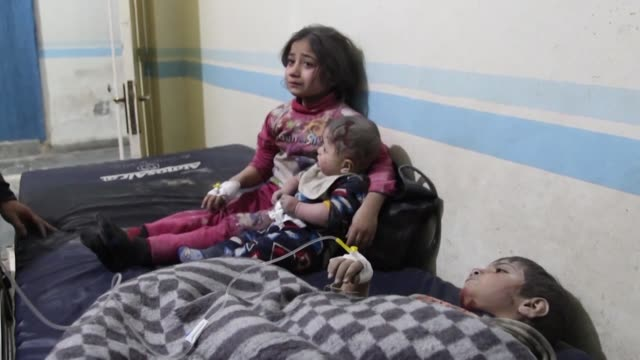 syrian children recover in a hospital after being wounded during air strikes on idlib city in the heart of the country's last rebel pocket which... - wounded stock videos & royalty-free footage