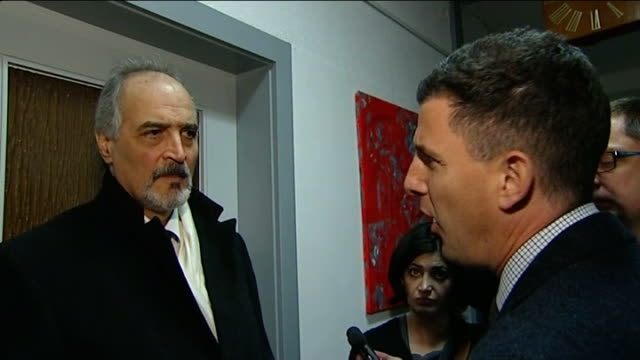 stockvideo's en b-roll-footage met geneva ii peace talks begin bashar aljaafari speaking to others bashar aljaafari interview with reporter in shot sot did the american president bush... - weduwe