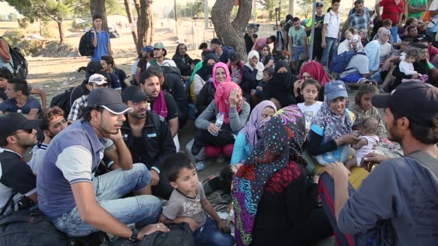 Syrian families wait to cross the border after waiting 20 hours on September 2 2015 in Idomeni Greece Several thousand migrant people are expected to...