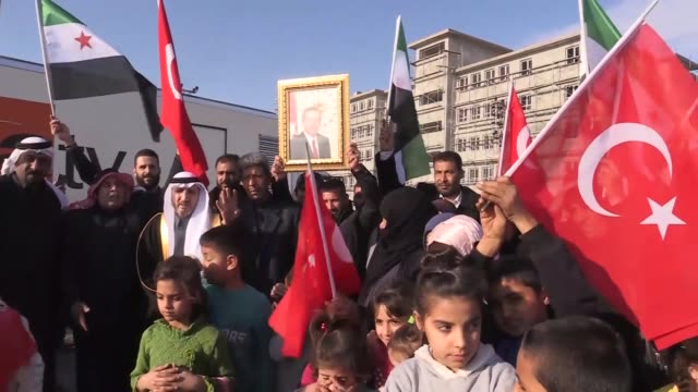 syrian group in turkey's southeastern sanliurfa province hold demonstration to show support possible turkish military operation against pyd/pkk... - kurdistan workers party stock videos & royalty-free footage