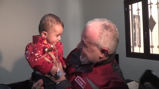syrian infant who became a symbol of the plight of civilian victims of regime attacks finally reached safety in hatay southern turkey on april 01... - hatay stock videos & royalty-free footage