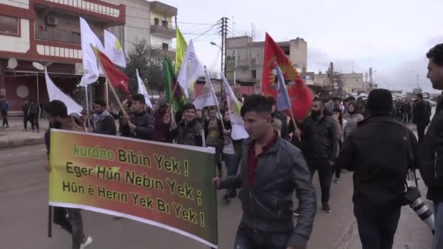 syrian kurds demonstrate in qamishli a city under the control of the arab kurdish coalition of the syrian democratic forces to denounce the... - syrian democratic forces stock videos & royalty-free footage