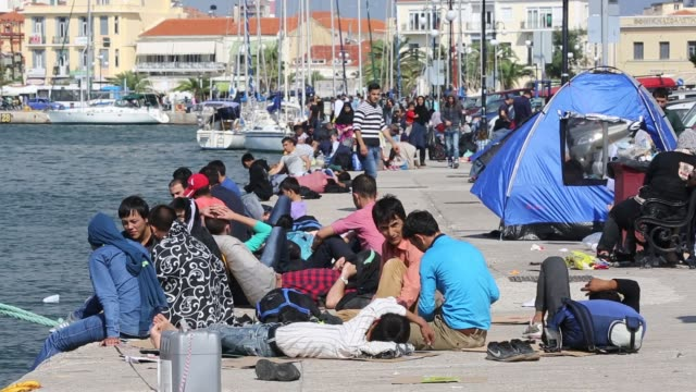syrian migrants fleeing the war and escaping to europe, who have landed on the greek island of lesvos. - isil konflikt stock-videos und b-roll-filmmaterial