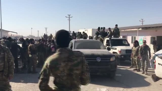 syrian national army members head to east of euphrates as part of the operation peace spring against the pkk/ypg and daesh terrorists on october 10... - siria video stock e b–roll
