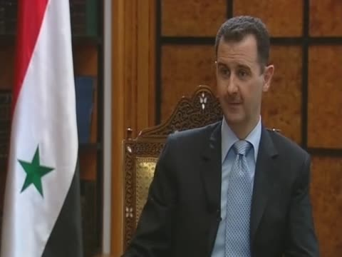 syrian president bashar al assad on the embargo in gaza - バッシャール・アル=アサド点の映像素材/bロール