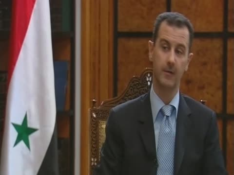 syrian president bashar al assad on the israeli raid on the turkish aid convoy heading for gaza - バッシャール・アル=アサド点の映像素材/bロール