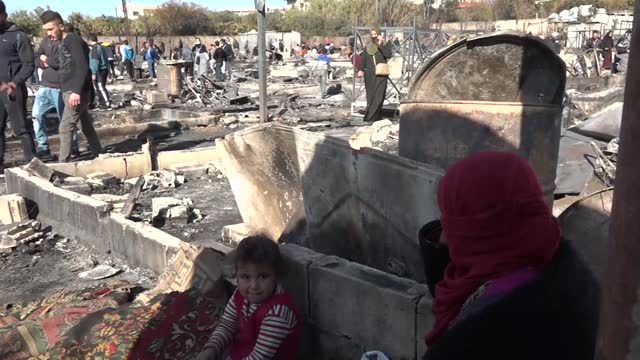 syrian refugee camp was set on fire in lebanon on sunday, dec. 27, following clashes between two groups. according to the lebanese press, armed... - lebanon country stock videos & royalty-free footage