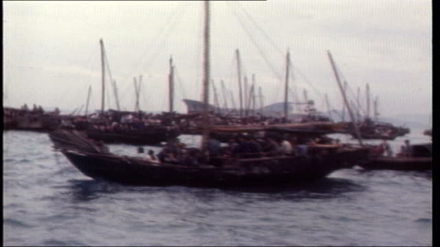 Britain refuses UN appeal to take more refugees TX Vietnamese boat people crammed in junks on Hong Kong harbour