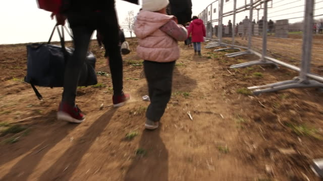syrian refugees at the turkey-greece border - war and conflict stock videos & royalty-free footage