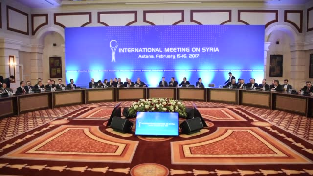 vídeos y material grabado en eventos de stock de syrian regime and rebel representatives failed thursday to make any breakthroughs at talks in kazakhstan as key powerbrokers russia turkey and iran... - cámara movida
