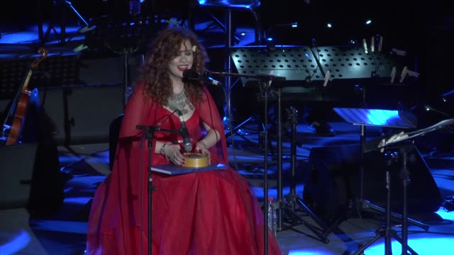 syrian singer of armenian origin lena chamamyan performs on stage during the 53rd edition of the international festival of carthage at the roman... - carthage tunisia stock videos & royalty-free footage