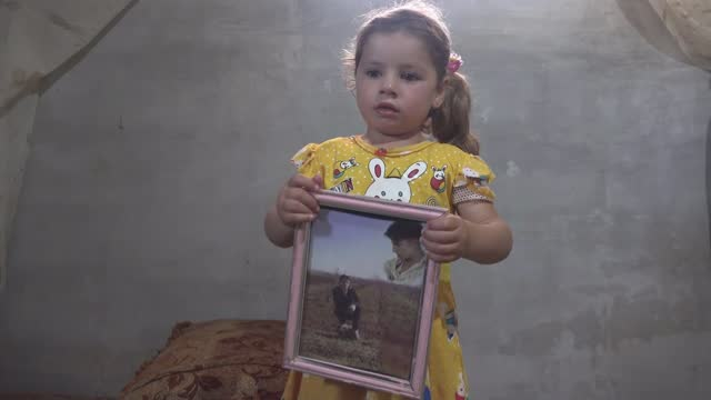 syrians remain missing after 10 years of war; syria: int wafa ali mustafa interview sot mother looking at photo of her disappeared son on phone and... - war and conflict video stock e b–roll