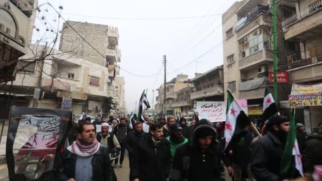 Syrians stage a protest against Assad Regime after Friday prayer in Idlib Syria on December 30 2016