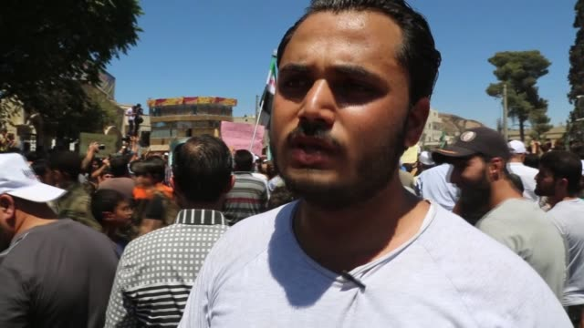 Syrians stage a protest against PKK/PYD terrorist organization and show their solidarity with Turkey after a Friday Prayer in Azaz town of Aleppo on...