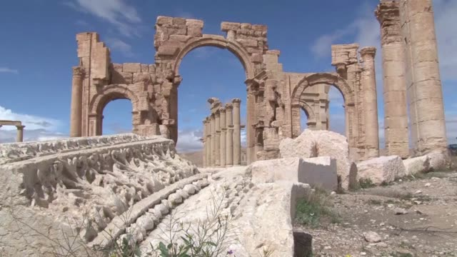 syria's ancient city of palmyra devastated by islamic state group jihadists is an archaeological treasure designated as a unesco world heritage site... - unesco stock videos & royalty-free footage